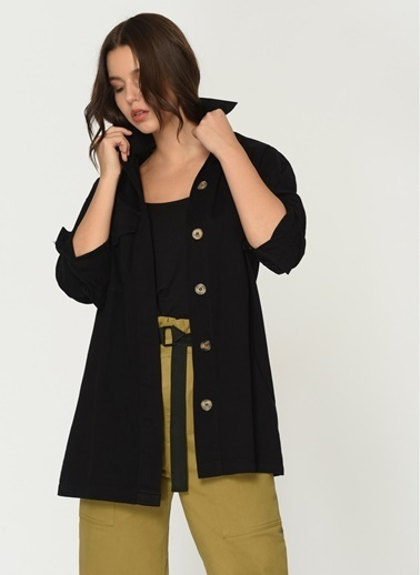 Loves You Cepli Loose Fit Gabordin Trench Ceket Siyah